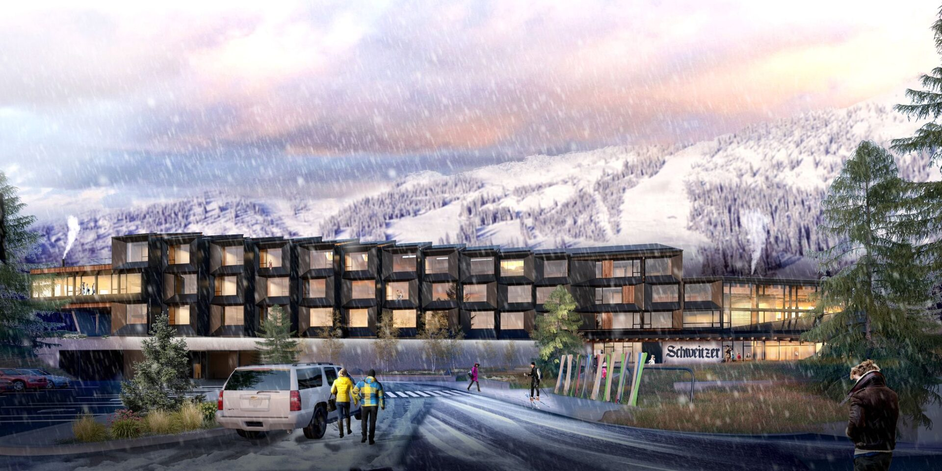 Artistic rendering of the new Humbird hotel, as viewed from Lakeview parking lot, with snowy ski runs in the background.