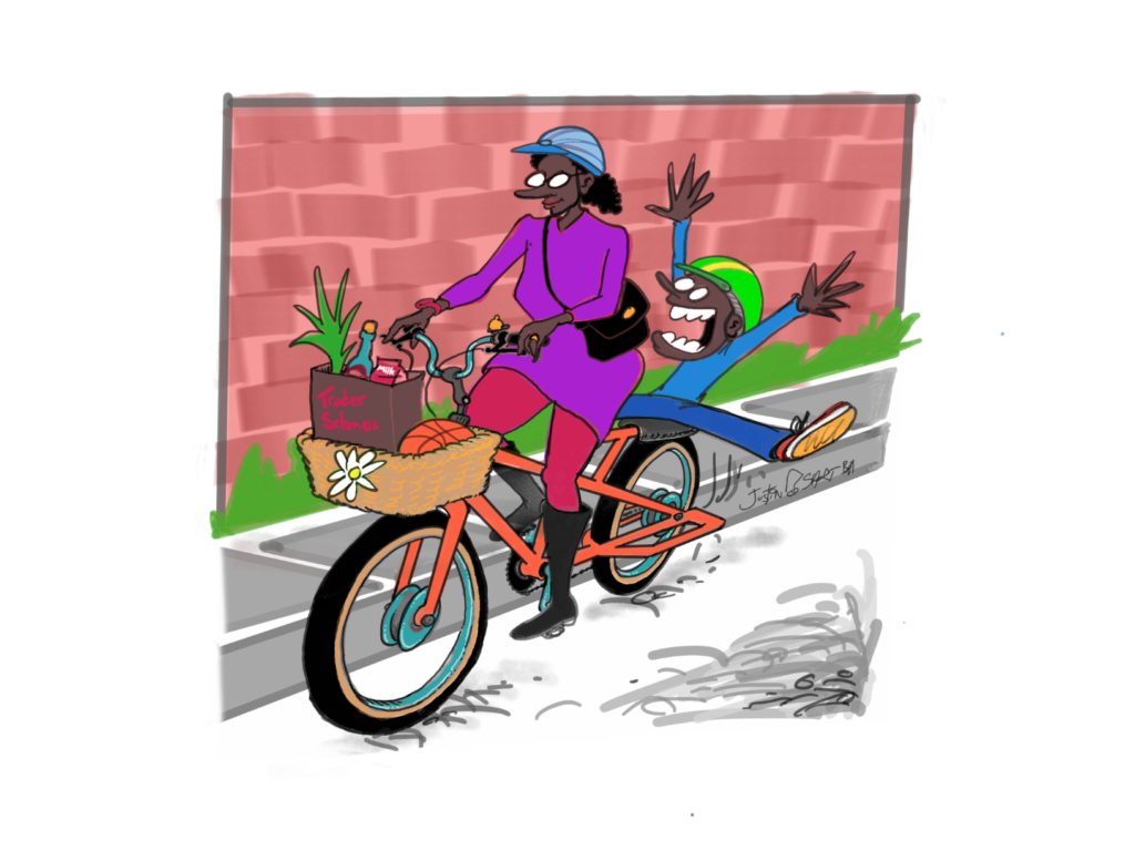 Illustration of a mom biking with a child sitting behind her, arms outstretched and having fun.