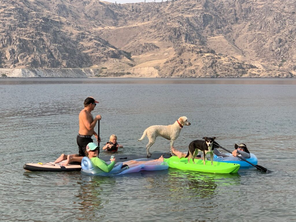 Flotilla on Lake Roosevelt, featuring a stand-up paddler, dogs on sit-on-top kayaks, people on inflatable recreation float-mattresses, and a child swimming.