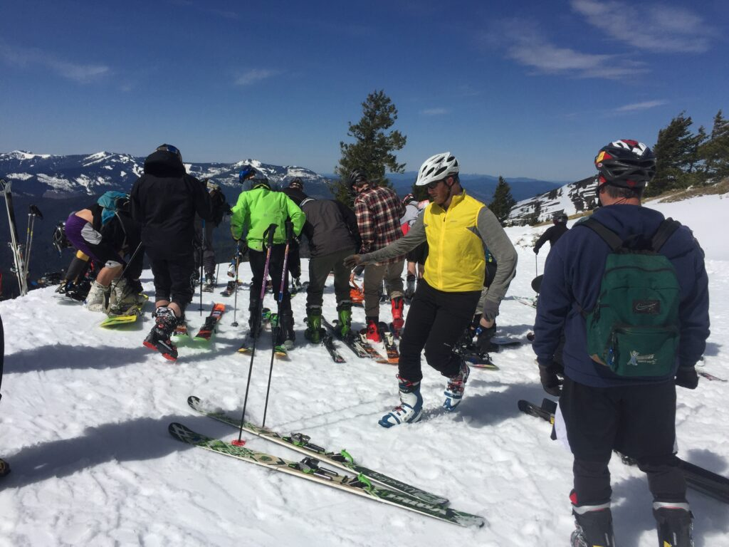 Skiers getting ready for the ski portion of the Leadman Triathlon at Silver Mountain.