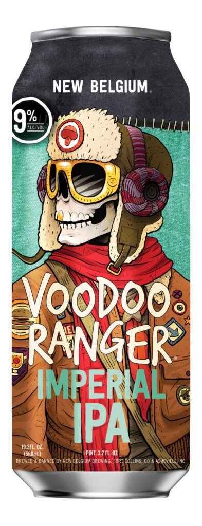 Can of New Belgium Voodoo Imperial IPA, featuring image of skeleton with bomber jacket, red scarf, and hat.