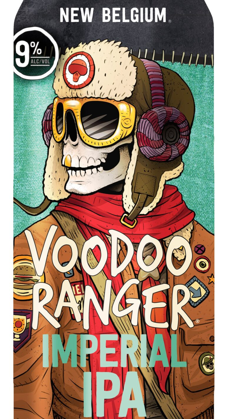 Beer can label for Voodoo Ranger Imperial IPA, featuring a skeleton wearing a bomber hat and jacket with red scarf.