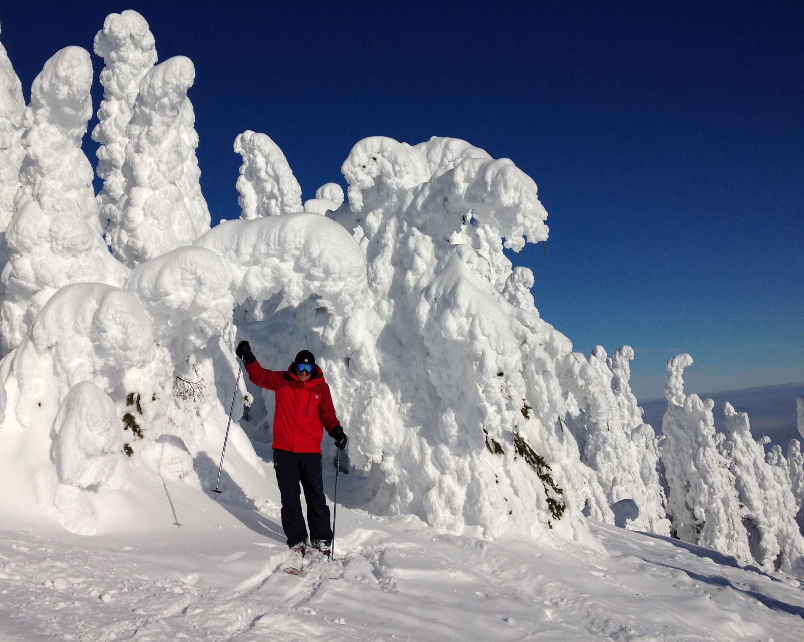 Bart Haggin in his ski gear, wearing a red jacket and black pants, on Mt. Spokane standing in front of snow-covered trees.
