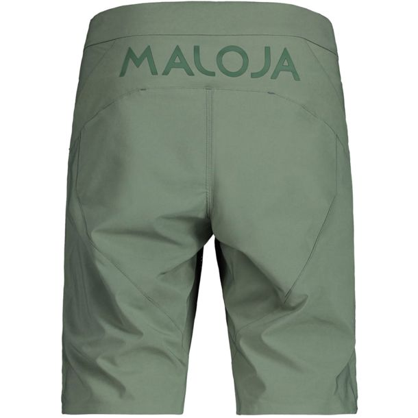light brown Maloja bike shorts.