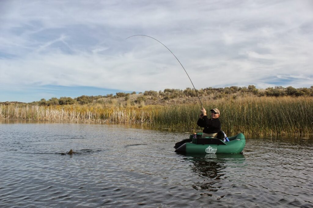 Flyfishing from float tube on the Columbia River at the Columbia National Wildlife Refuge.