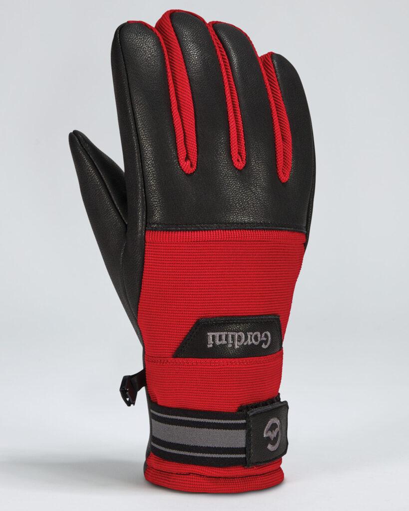 Gordini Spring Gloves: black ski gloves with red accents.
