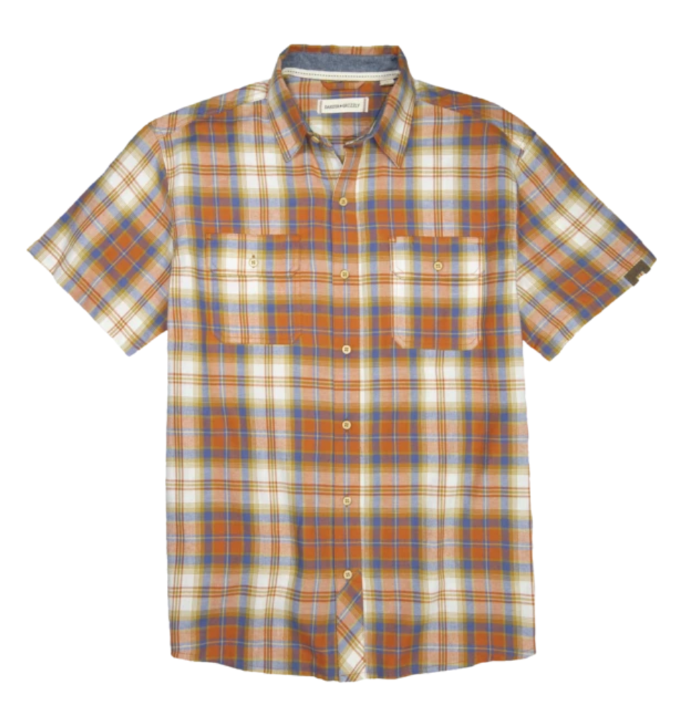 Dakota Grizzly Huck Spring Flannel: short-sleeve shirt with brown and white plaid pattern