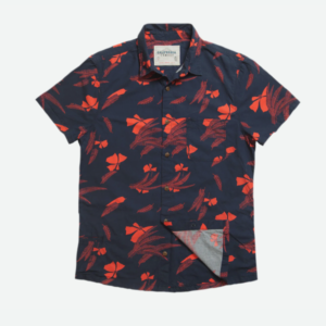 California Cowboy Tropic Shirt: black with small red graphic design accents.