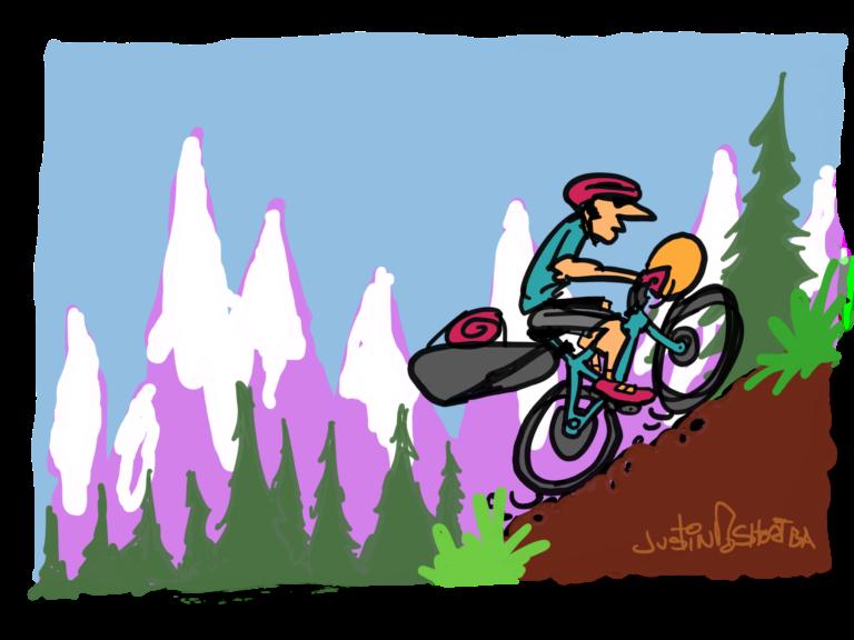 Illustration of a mountainn biker grinding up a mountain.