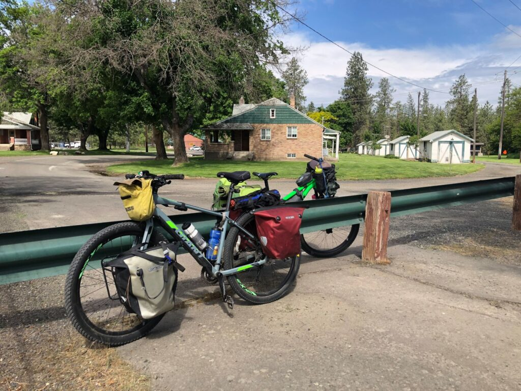 Bikes parked at Riverside State Park's Nine Mile Falls Dam area.