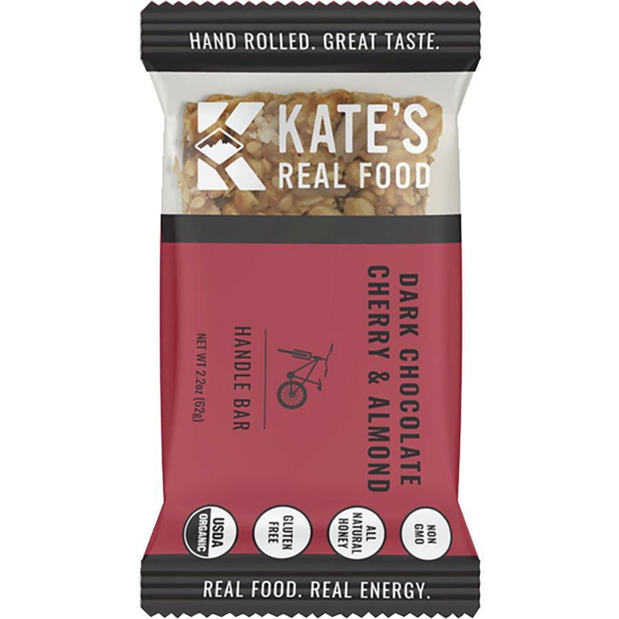 Kate's Real Food organic energy bar in a magenta-colored wrapper.