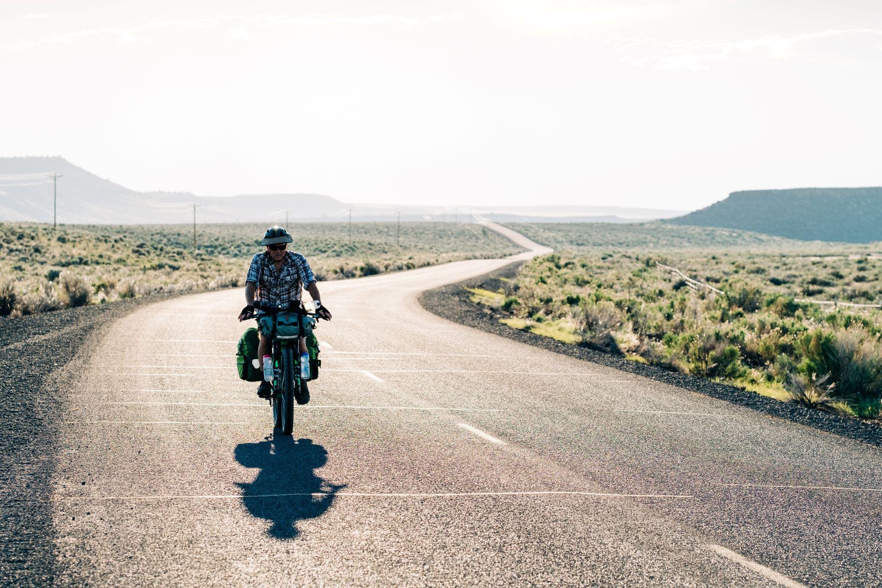 Biking on a paved road through Malheur National Wildlife Refuge in Oregon.