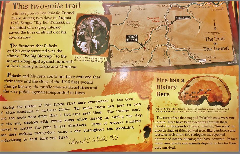 Trailhead historical information sign at the Pulaski Tunnel Trail.