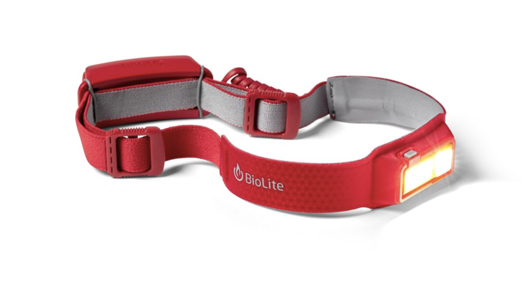 Red colored BioLite rechargeable headlamp.