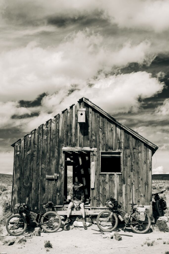 Old, weathered remnant of a ranch house in a sagebrush desert near the Sheldon National Wildlife Refuge in Nevada.