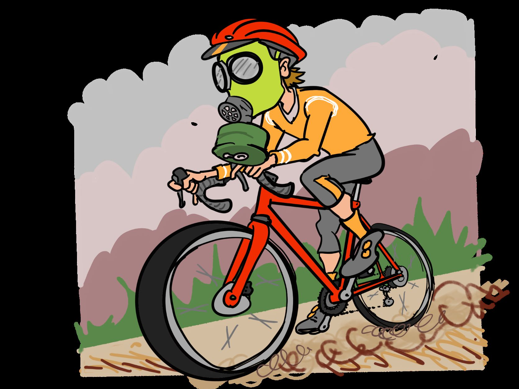 Illustration of a cyclist riding with a gas mask on his face to protect from wildfire smoke.