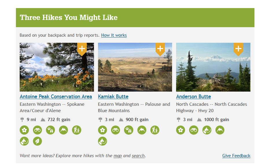 Screenshot of WTA.org webpage showing the My Backpacker hike recommendation feature.
