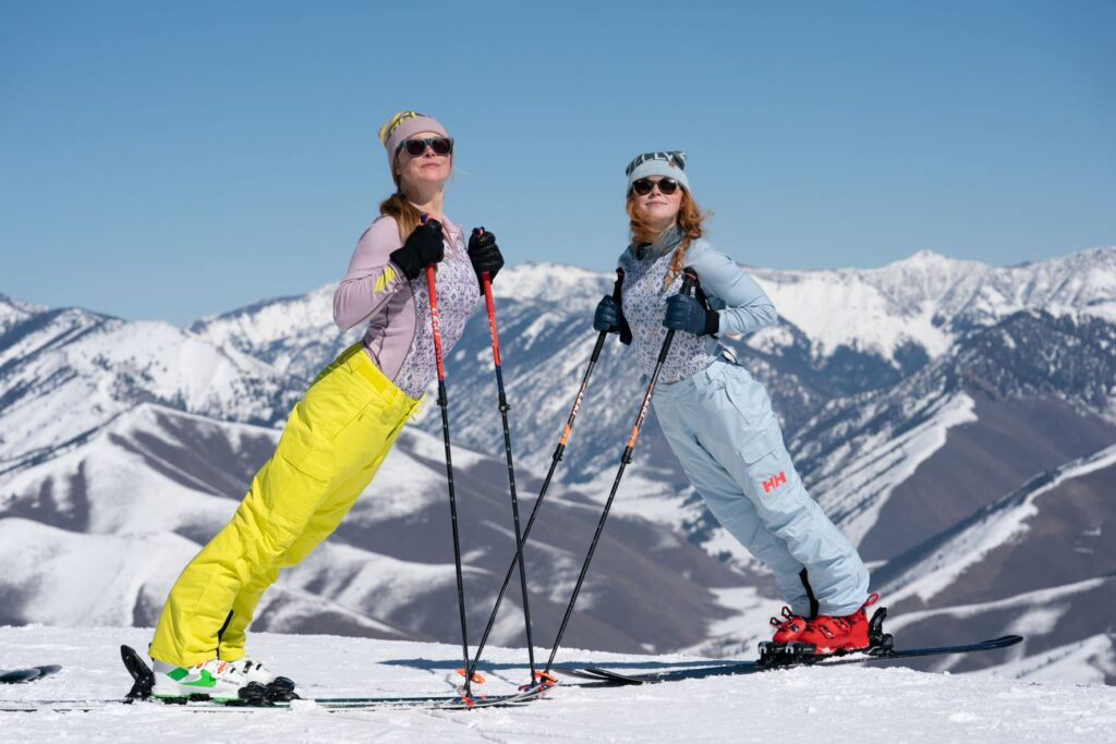 """Sun Valley Selects 23 - (Cam McLeod) - Kaylin Richardson and Madison Rose at Sun Valley, filming """"Winter Starts Now."""" // Photo courtesy Warren Miller Entertainment, photo by Cam McLeod."""