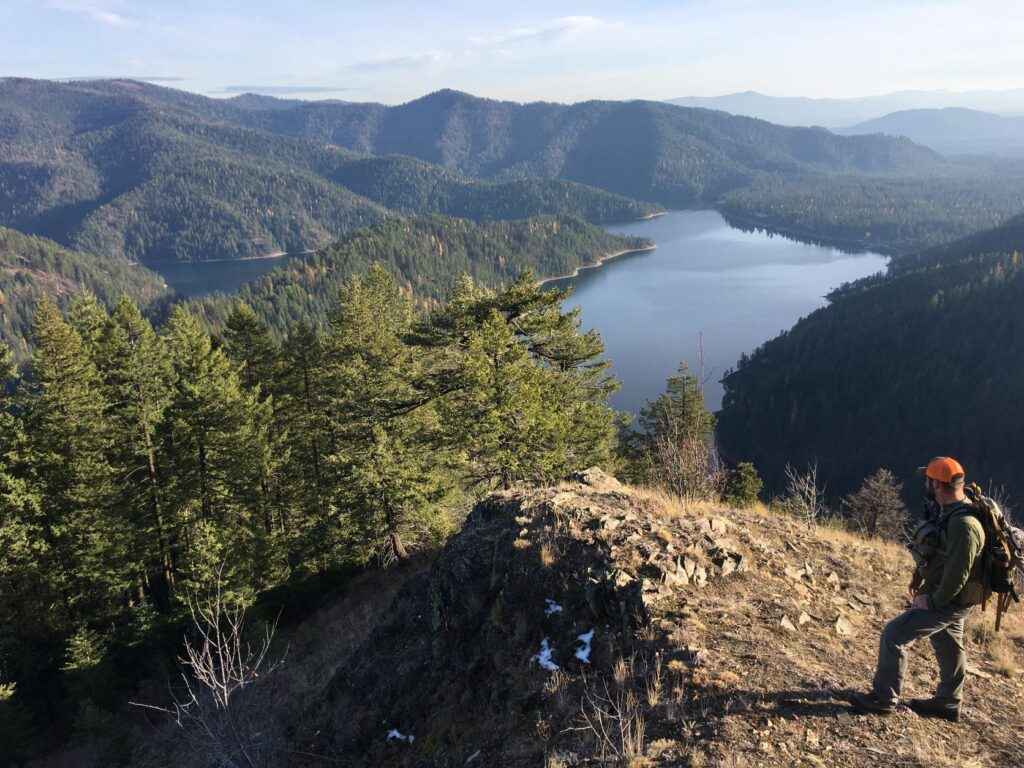 View of Bead Lake below from a rock cliff overlooking the Colville National Forest in NE Washington.