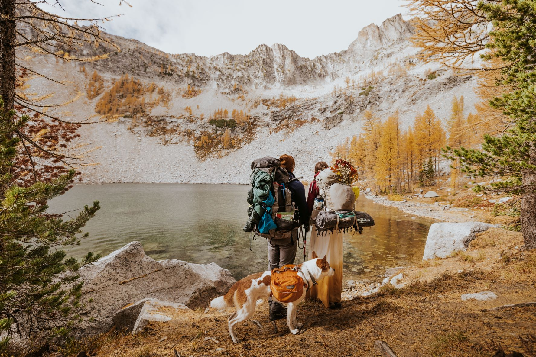 Couple wearing backpacks and holding hands alongside an alpine lake, with their dog, ready to get married.