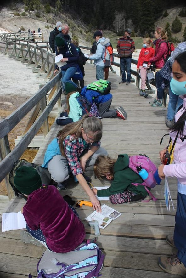 Students learning at Yellowstone.